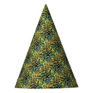 Foliage Abstract In Green, Peach and Phthalo Blue Party Hat