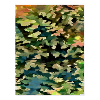 Foliage Abstract In Green, Peach and Phthalo Blue Postcard