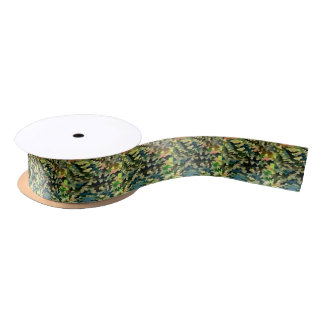 Foliage Abstract In Green, Peach and Phthalo Blue Satin Ribbon