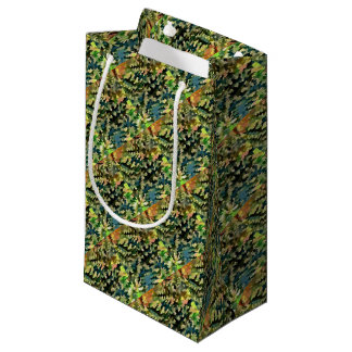 Foliage Abstract In Green, Peach and Phthalo Blue Small Gift Bag