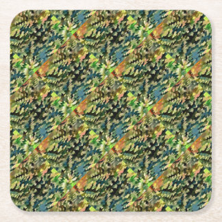 Foliage Abstract In Green, Peach and Phthalo Blue Square Paper Coaster