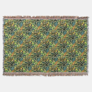 Foliage Abstract In Green, Peach and Phthalo Blue Throw Blanket