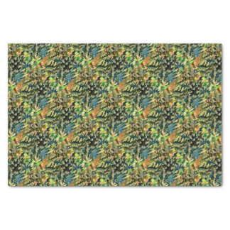 Foliage Abstract In Green, Peach and Phthalo Blue Tissue Paper