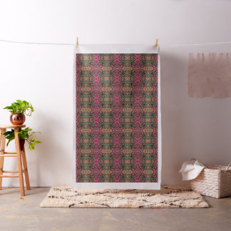 Foliage Abstract In Pink, Peach and Green Fabric