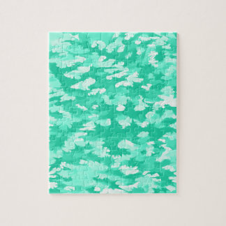Foliage Abstract Pop Art Aqua Jigsaw Puzzle