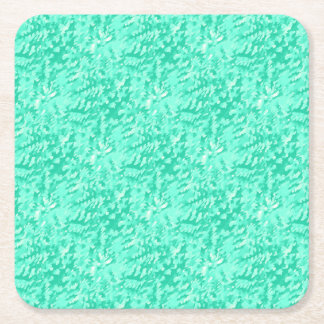 Foliage Abstract Pop Art Aqua Square Paper Coaster