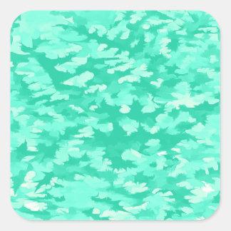 Foliage Abstract Pop Art Aqua Square Sticker