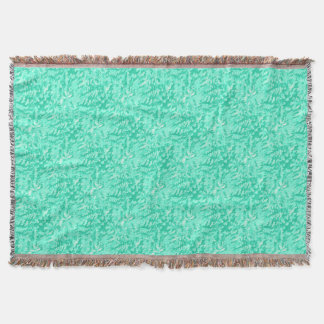 Foliage Abstract Pop Art Aqua Throw Blanket