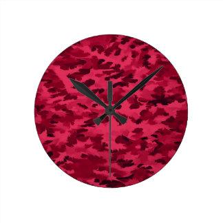 Foliage Abstract Pop Art Blush Red Round Clock