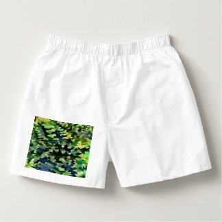 Foliage Abstract Pop Art In Green and Blue Boxers