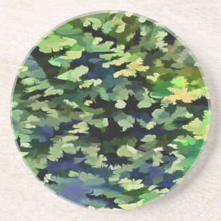 Foliage Abstract Pop Art In Green and Blue Coaster
