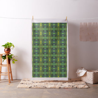 Foliage Abstract Pop Art In Green and Blue Fabric