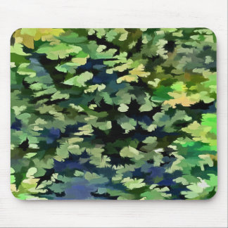 Foliage Abstract Pop Art In Green and Blue Mouse Pad