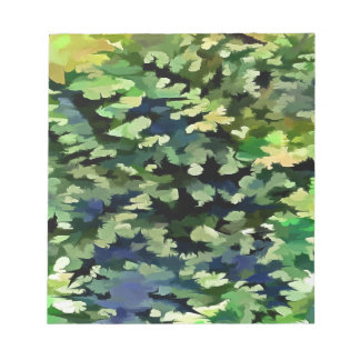 Foliage Abstract Pop Art In Green and Blue Notepad