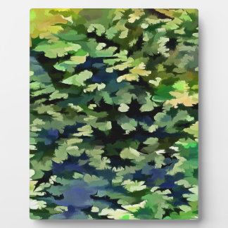 Foliage Abstract Pop Art In Green and Blue Plaque