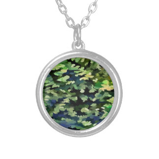 Foliage Abstract Pop Art In Green and Blue Silver Plated Necklace