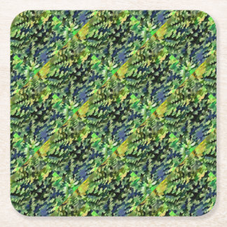 Foliage Abstract Pop Art In Green and Blue Square Paper Coaster