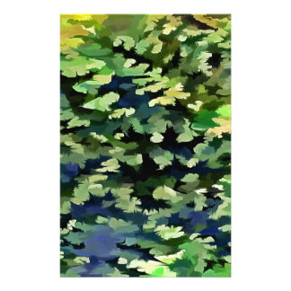 Foliage Abstract Pop Art In Green and Blue Stationery