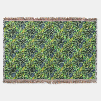 Foliage Abstract Pop Art In Green and Blue Throw Blanket