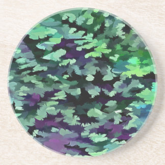 Foliage Abstract Pop Art In Jade Green and Purple. Coaster