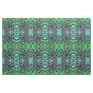 Foliage Abstract Pop Art In Jade Green and Purple Fabric