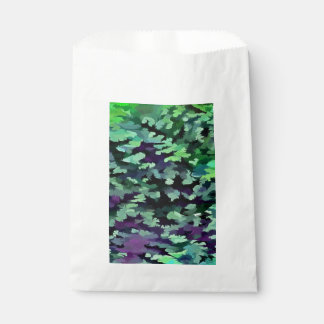 Foliage Abstract Pop Art In Jade Green and Purple. Favour Bag