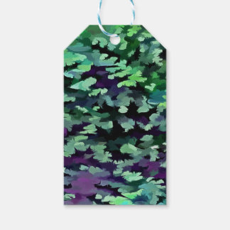 Foliage Abstract Pop Art In Jade Green and Purple. Gift Tags