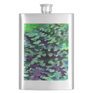 Foliage Abstract Pop Art In Jade Green and Purple. Hip Flask