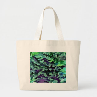 Foliage Abstract Pop Art In Jade Green and Purple. Large Tote Bag