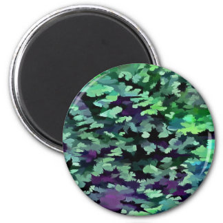 Foliage Abstract Pop Art In Jade Green and Purple. Magnet