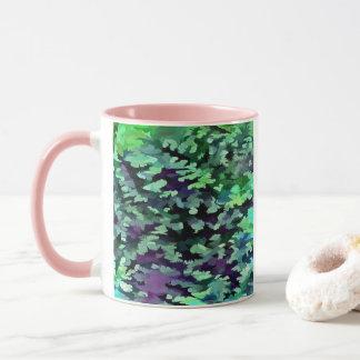 Foliage Abstract Pop Art In Jade Green and Purple. Mug