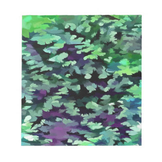Foliage Abstract Pop Art In Jade Green and Purple. Notepad