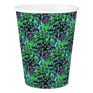 Foliage Abstract Pop Art In Jade Green and Purple. Paper Cup