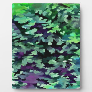 Foliage Abstract Pop Art In Jade Green and Purple. Plaque