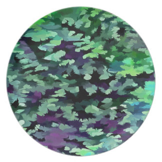 Foliage Abstract Pop Art In Jade Green and Purple. Plate