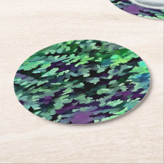 Foliage Abstract Pop Art In Jade Green and Purple. Round Paper Coaster