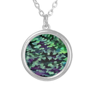 Foliage Abstract Pop Art In Jade Green and Purple. Silver Plated Necklace