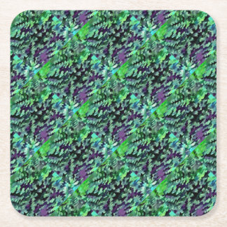 Foliage Abstract Pop Art In Jade Green and Purple. Square Paper Coaster