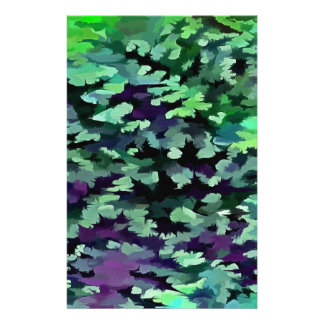Foliage Abstract Pop Art In Jade Green and Purple. Stationery