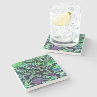 Foliage Abstract Pop Art In Jade Green and Purple. Stone Coaster