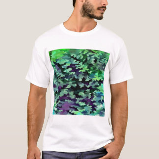Foliage Abstract Pop Art In Jade Green and Purple. T-Shirt
