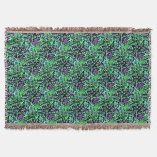Foliage Abstract Pop Art In Jade Green and Purple. Throw Blanket