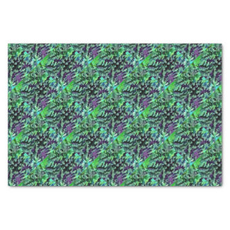 Foliage Abstract Pop Art In Jade Green and Purple. Tissue Paper