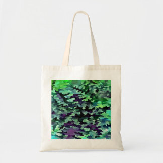 Foliage Abstract Pop Art In Jade Green and Purple. Tote Bag