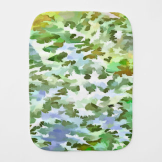 Foliage Abstract Pop Art In White Green and Powder Burp Cloth