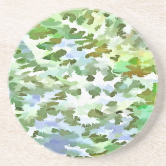 Foliage Abstract Pop Art In White Green and Powder Coaster