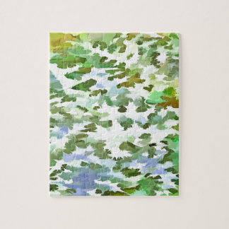 Foliage Abstract Pop Art In White Green and Powder Jigsaw Puzzle