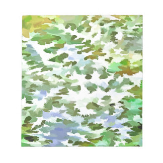 Foliage Abstract Pop Art In White Green and Powder Notepad