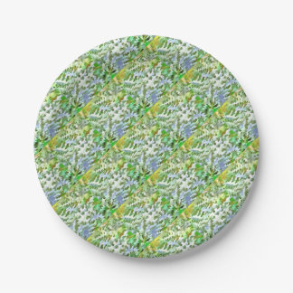Foliage Abstract Pop Art In White Green and Powder Paper Plate
