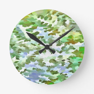 Foliage Abstract Pop Art In White Green and Powder Round Clock